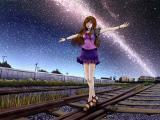 行走在鐵路的女孩